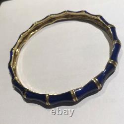 Tiffany & Co. 18k Yellow Gold Enamel Vintage Cobalt Blue Bamboo Bangle Bracelet
