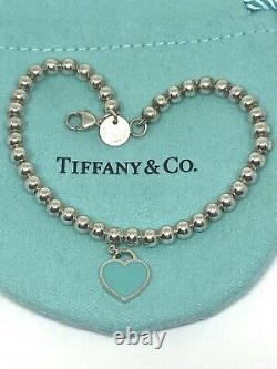 Tiffany & Co. 925 Blue Enamel Mini Heart Tag Bracelet 6.5long