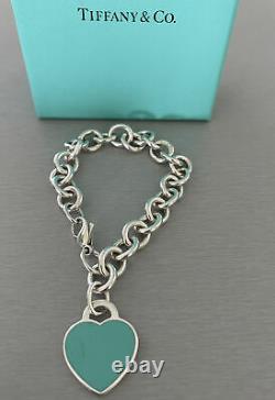 Tiffany & Co 925 Blue Enamel Return To Tiffany Heart Tag Bracelet 7 With Box