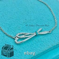 Tiffany & Co. 925 Silver Blue Enamel Bow Knot 6.25 Bracelet (pouch)