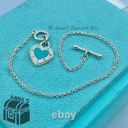 Tiffany & Co. 925 Silver Blue Enamel RTT LOVE Toggle 6.5 Bracelet (pouch)