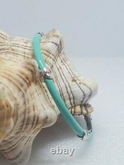 Tiffany &Co Aqua Blue Enamel Sterling Silver Signature X Kiss Bangle Bracelet