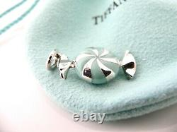 Tiffany & Co Blue Enamel Candy Charm 4 Necklace Bracelet Excellent Pouch Gift