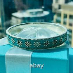 Tiffany & Co. Blue Enamel Daisy Bangle Bracelet