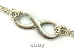 Tiffany & Co. Blue Enamel Infinity Chain Bracelet Silver 925 #4132