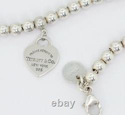 Tiffany & Co. Blue Enamel Return to Heart Bracelet 6.7 Silver 925 Auth m9