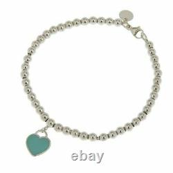 Tiffany & Co. Blue Enamel Return to Tiffany Mini Heart Bracelet Silver 925