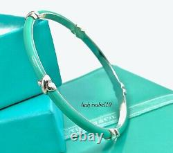 Tiffany & Co Blue Enamel X Kiss Love Bangle Sterling Silver 7.5in Gift w Box 21C