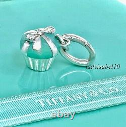Tiffany & Co. Cupcake Love Blue Enamel Charm Oval Clasp Silver Gift Pouch 2172C