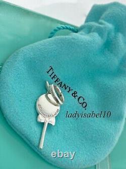 Tiffany & Co Lollypop Love Blue Enamel Charm Oval Clasp Silver Gift Pouch 2172B
