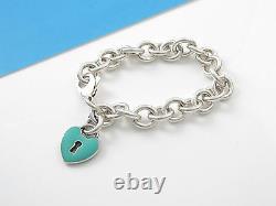 Tiffany & Co RARE Silver Blue Enamel Heart Charm Pendant Bracelet Bangle