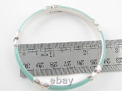Tiffany & Co RARE Silver Wide Thick Blue Enamel Bangle Bracelet Cuff