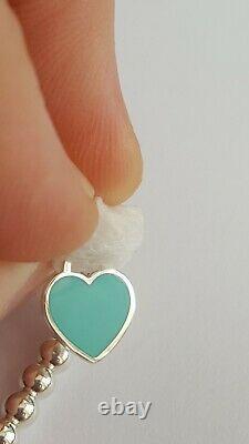Tiffany&Co. RTT T&Co. Mini Blue Enamel Heart Tag Bracelet