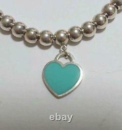 Tiffany & Co Return to Mini Double Heart Enamel Blue Bracelet withBOX