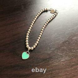 Tiffany & Co Return to Silver Blue Enamel Heart Mini Ball Bead Bracelet NO BOX 3