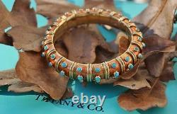 Tiffany & Co Schlumberger 18k Gold, Turquoise, Orange Enamel Croisillon Bracelet
