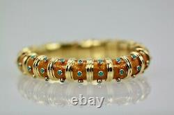 Tiffany & Co. Schlumberger Copper Enamel and Turquoise Narrow Bracelet Iconic