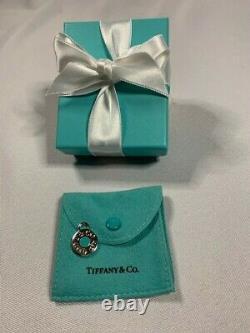 Tiffany & Co Silver 1837 Circle Blue Enamel Charm Pendant 4 Necklace or Bracelet