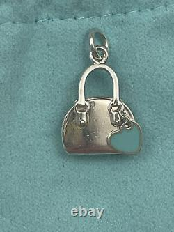 Tiffany & Co. Silver Blue Enamel Heart Handbag Charm Pendant 4 Necklace Bracelet