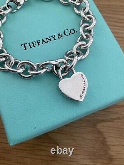 Tiffany & Co Silver Blue Enamel Heart Padlock Charm Bracelet Sterling silver