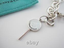 Tiffany & Co Silver Blue Enamel Lollipop Lolli Pop Charm Bracelet Bangle