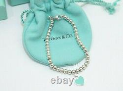 Tiffany & Co. Silver Blue Enamel Return to Heart Mini Ball Bead Bracelet