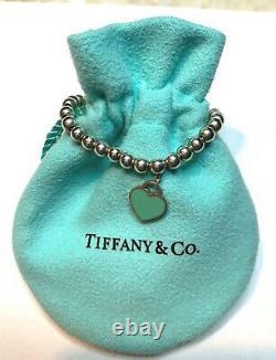 Tiffany & Co. Silver Blue Enamel Return to Tiffany Heart Mini Ball Bead Bracelet