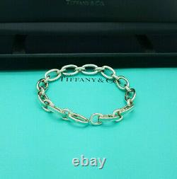 Tiffany & Co. Silver Blue enamel Oval Clasping Link 7.75 Italy Charm Bracelet
