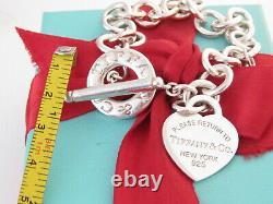 Tiffany & Co Silver Please Return Heart Tag Blue Enamel Toggle Bracelet 8 Box