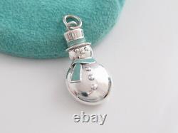 Tiffany & Co Snowman Silver Blue Enamel Charm For Necklace Bracelet
