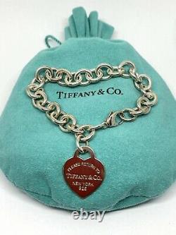 Tiffany & Co Sterling Blue Enamel Return To Tiffany Heart Tag Bracelet 7