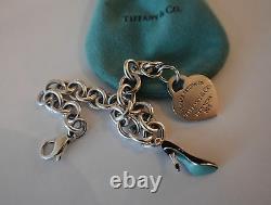 Tiffany Co Sterling Blue Enamel Shoe & Heart Charms w 8 Tiffany Charm Bracelet