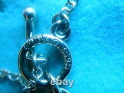 Tiffany & Co Sterling Return To Tiffany Blue Enamel Love Heart Toggle Bracelet