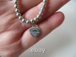 Tiffany & Co. Sterling Return to T. Blue Enamel Heart Tag Beaded Ball Bracelet