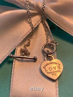 Tiffany & Co Sterling Return to Tiffany blue enamel mini heart toggle bracelet