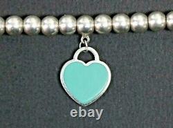 Tiffany & Co Sterling Silver 4mm Ball Bracelet & Blue Enamel Return Heart Tag 7