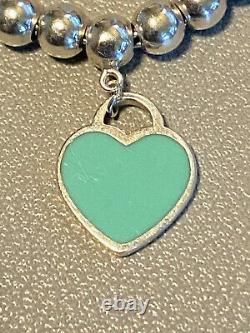 Tiffany & Co. Sterling Silver 925 Blue Enamel Heart Tag Mini Bead 7 Bracelet