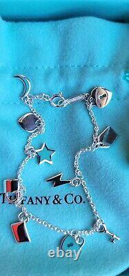 Tiffany & Co Sterling Silver Blue Enamel Dangle Charm Bracelet 6.75