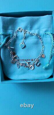 Tiffany & Co Sterling Silver Blue Enamel I Love You Charm Bracelet Adjust 6.5-7