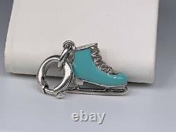 Tiffany & Co. Sterling Silver Blue Enamel Ice Skate Charm For Bracelet/Necklace
