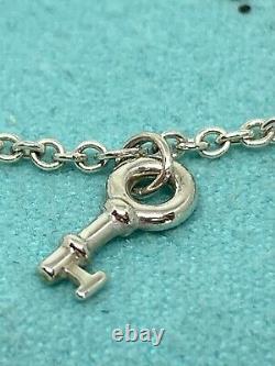 Tiffany & Co Sterling Silver Blue Enamel Mini Charm Bracelet