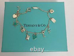 Tiffany & Co Sterling Silver Blue Enamel Mini Charm Bracelet 6.5 L