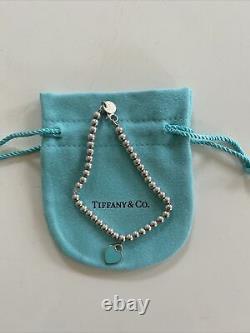 Tiffany & Co. Sterling Silver Please Return Blue Enamel Heart Bead Bracelet 6.5