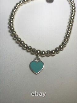 Tiffany & Co. Sterling Silver Please Return Blue Enamel Heart Bead Bracelet 6.75