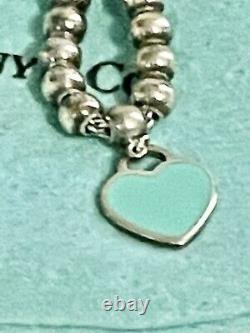 Tiffany & Co. Sterling Silver Please Return Blue Enamel Heart Bead Bracelet 7