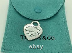 Tiffany Co Sterling Silver Please Return Heart Blue Enamel Charm Pendant