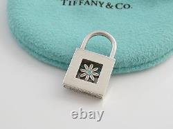 Tiffany RARE Silver Blue Enamel Daisy Padlock Pendant 4 Necklace Bracelet