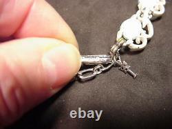 Trifari Crown Mark Necklace Bracelet White Enamel Faux Turquoise Blue Sets NICE