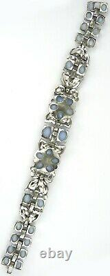 Trifari Philippe Blue Moonstone Flowers Enamel Leaves Ruby Baguettes Bracelet
