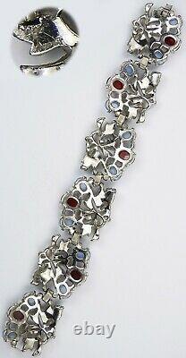 Trifari Philippe Enamel Blue Moonstone Ruby Floral Necklace Bracelet Clips Set